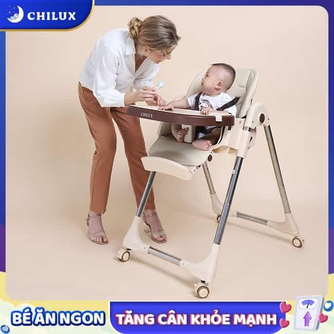 Ghế ăn dặm cho bé Chilux trang bị đai an toàn 5 điểm giúp con ngồi an toàn